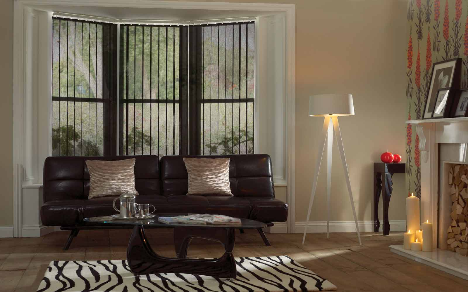 Voile Vertical Blinds in a bay