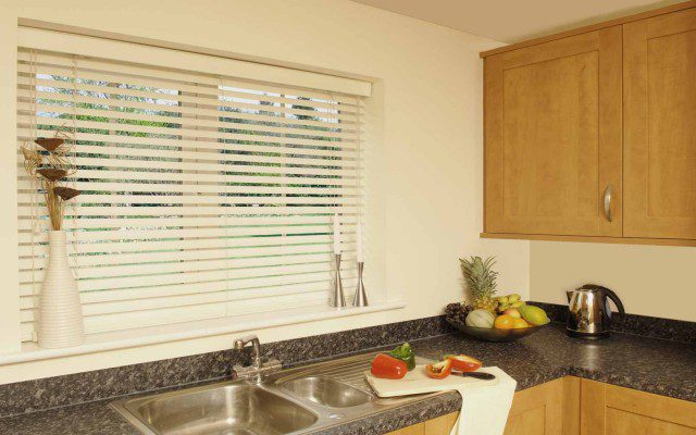 Faux Wood Venetian Blinds in a Kitchen