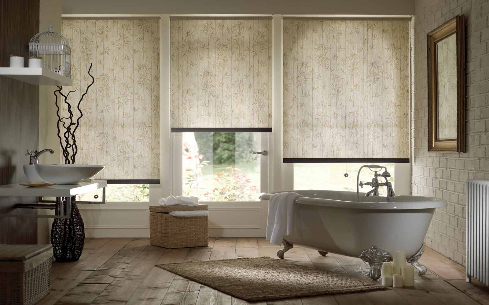 Cheap bathroom blinds uk - Outside Recess Three Window Roller Blind