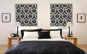 Patterned Blackout Roller Blinds In Bedroom