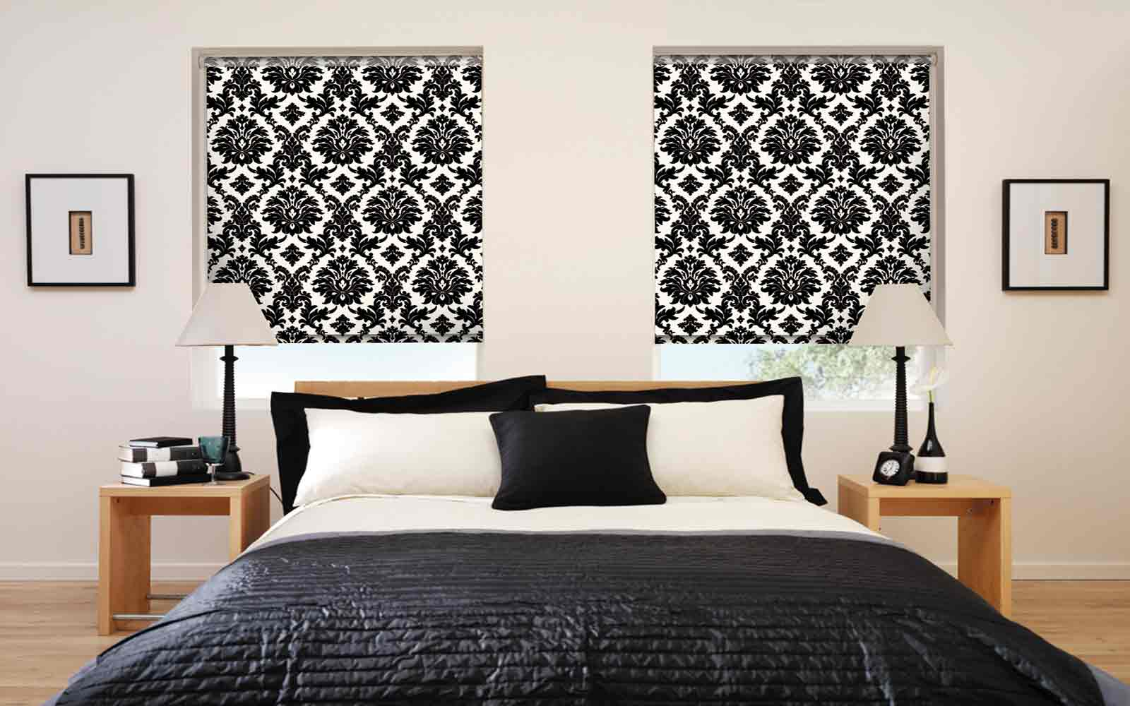 Patterned Roller blinds in the bedroom