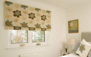 Pattern Blackout Roman Blind In Bedroom
