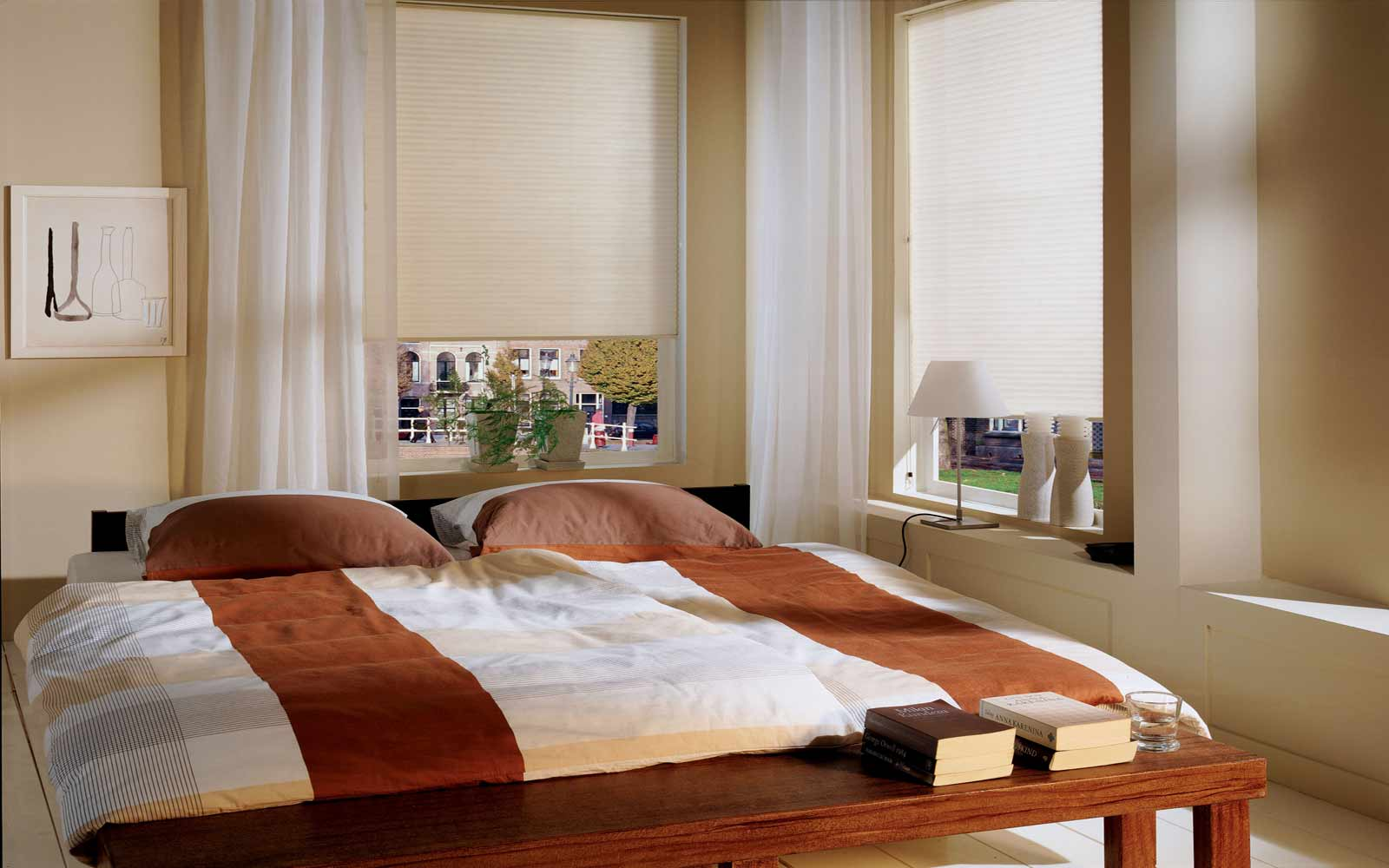 Pleated blinds in a bedroom