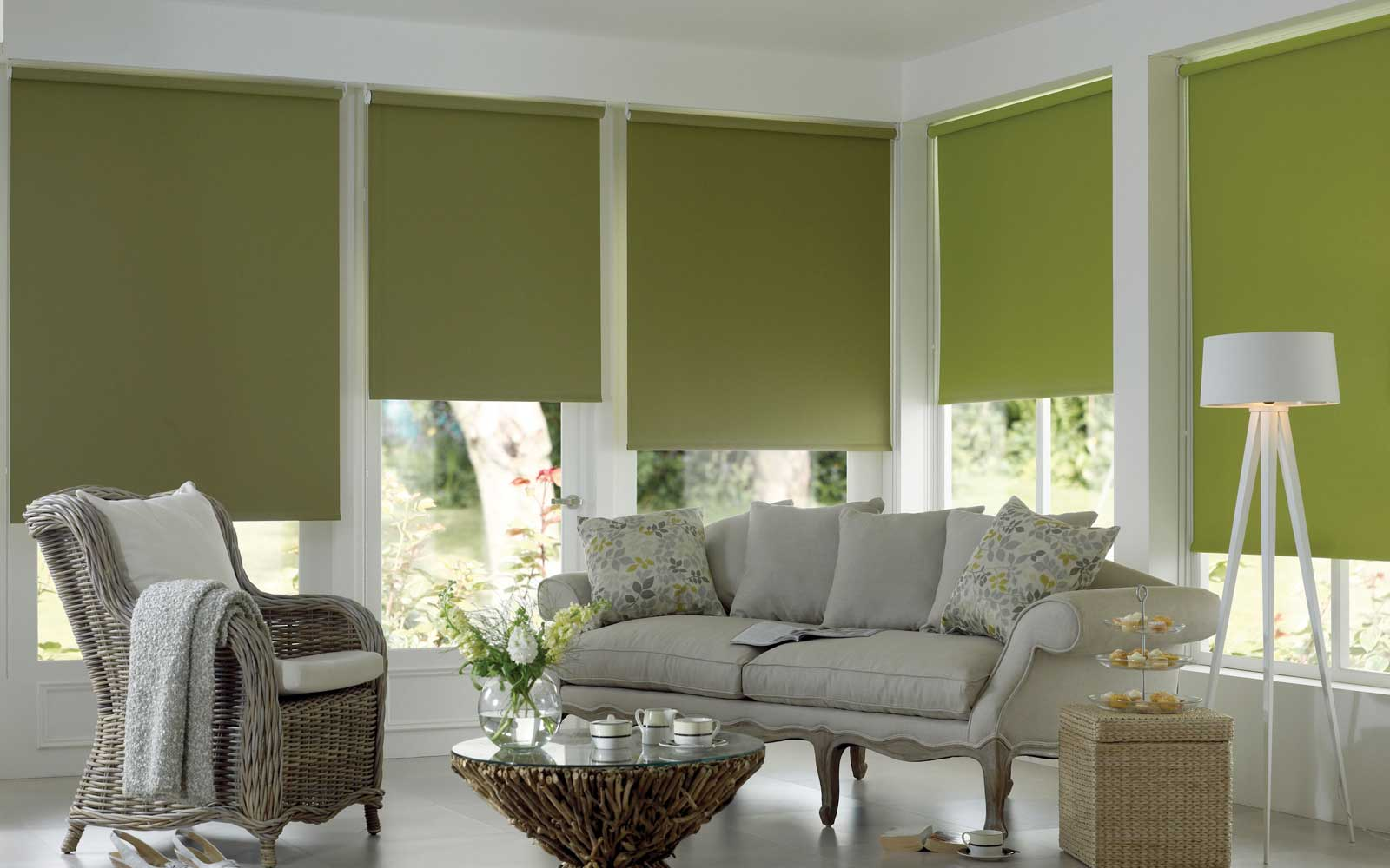 roller blinds in a living room