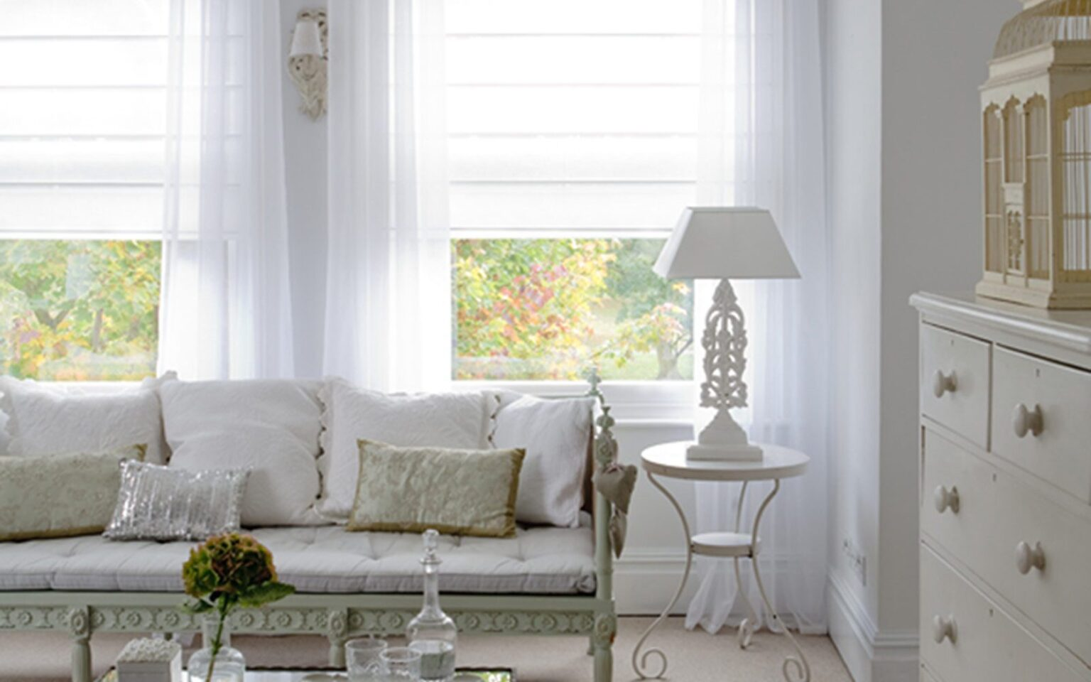 Voile Romand Blinds in a living room