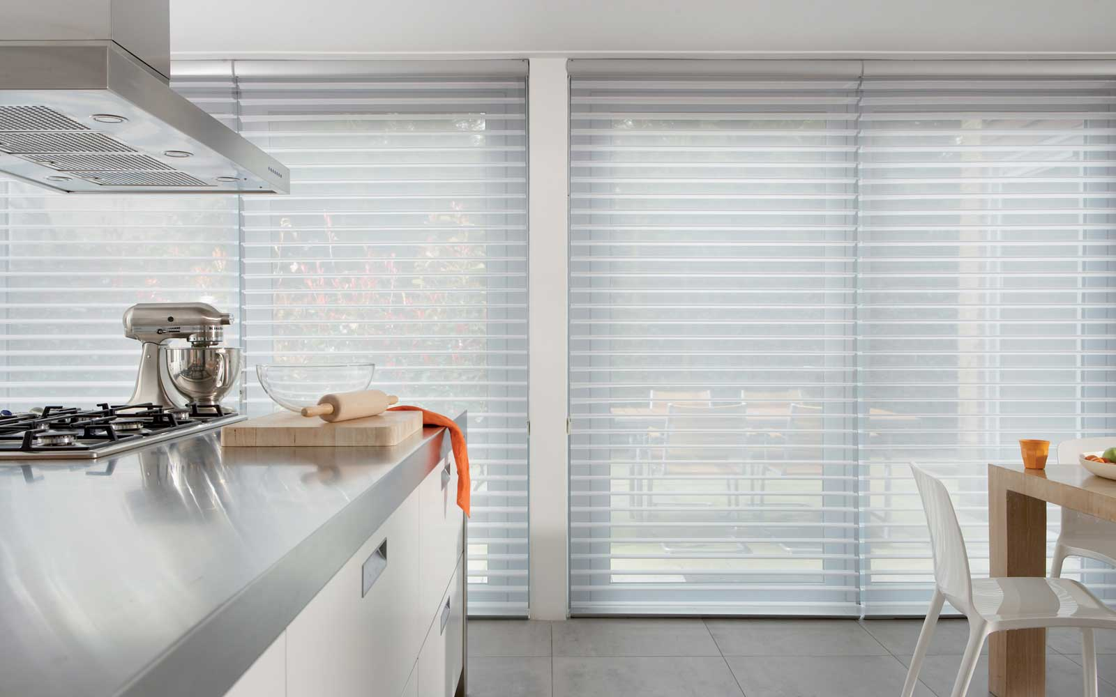 silhouette blinds in a kitchen