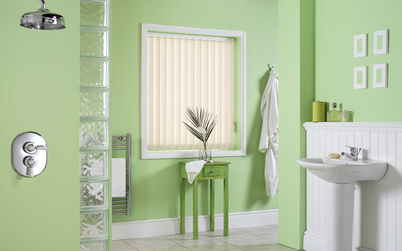 Vertical Blinds in a Bathroom
