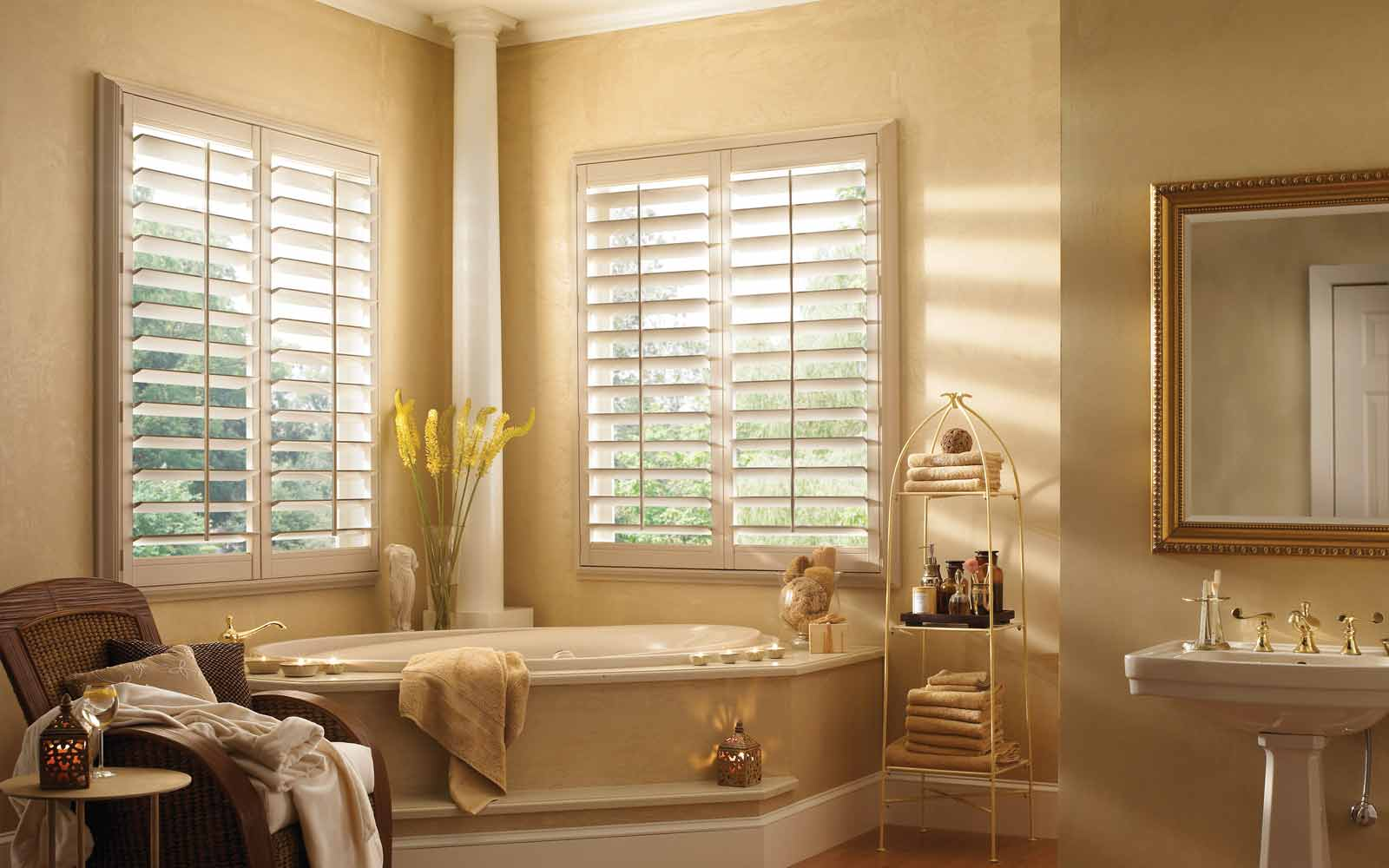 Vinyl Plantation Shutters in a Bathroom