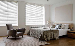 Wood Venetian Blind In Bedroom