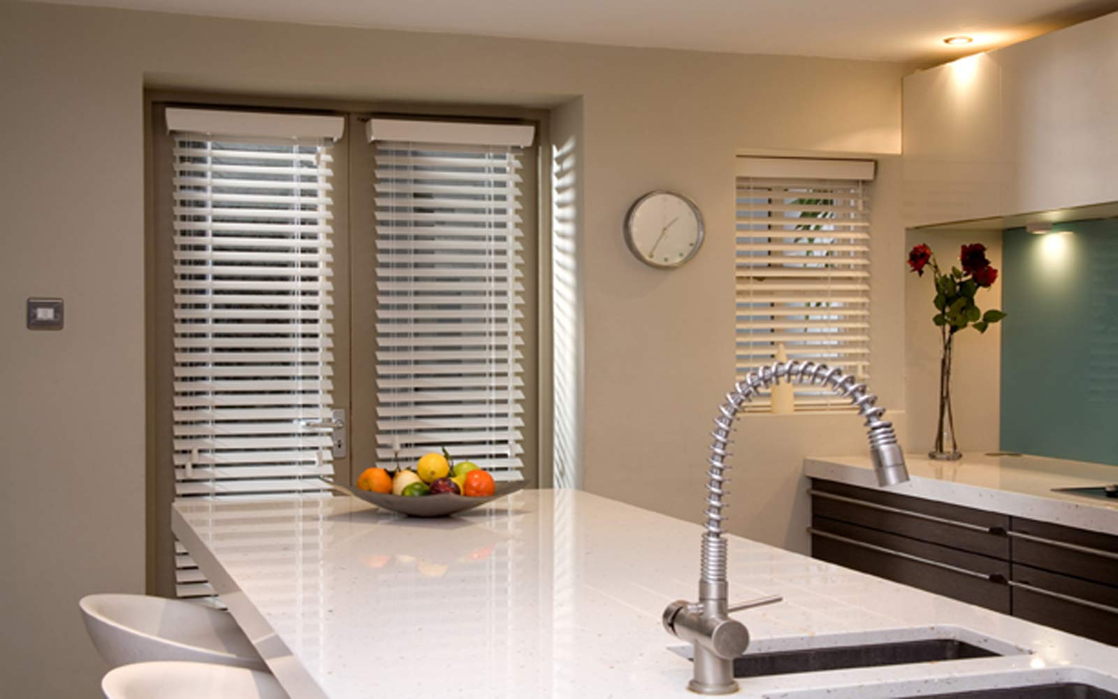Wooden Venetian Blind in Kitchen