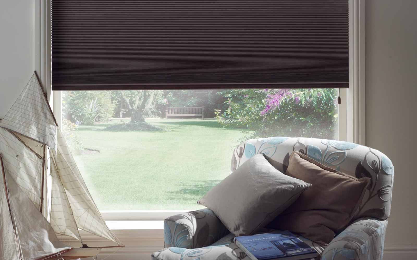 Pleated blinds in a living room