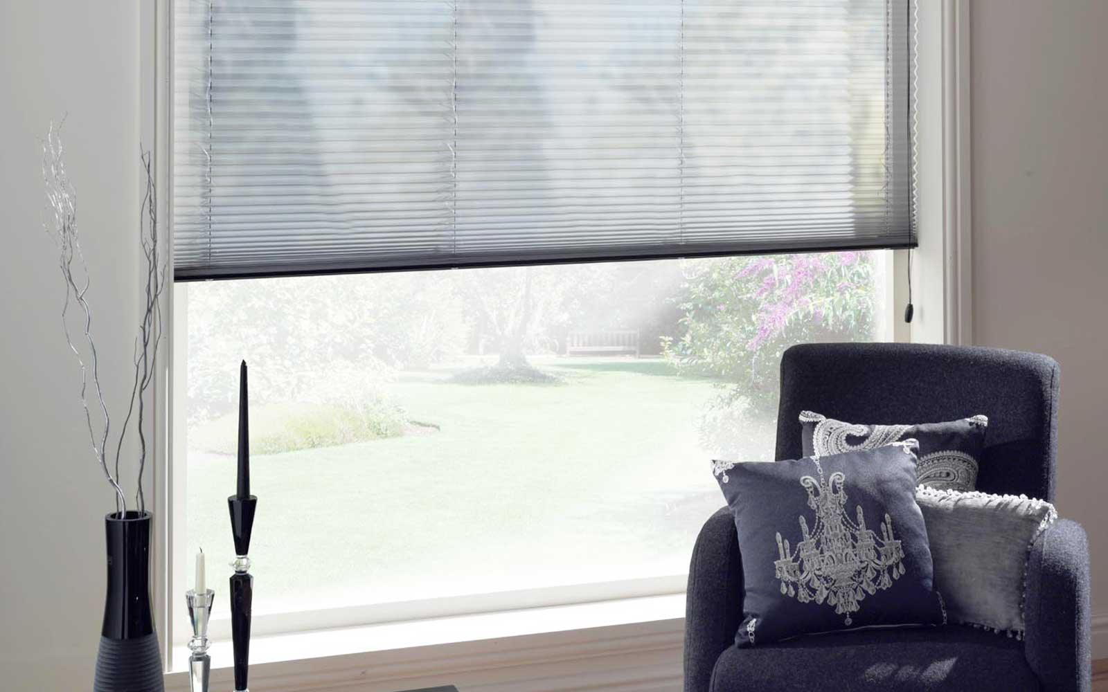 Voile pleated blinds in a living room