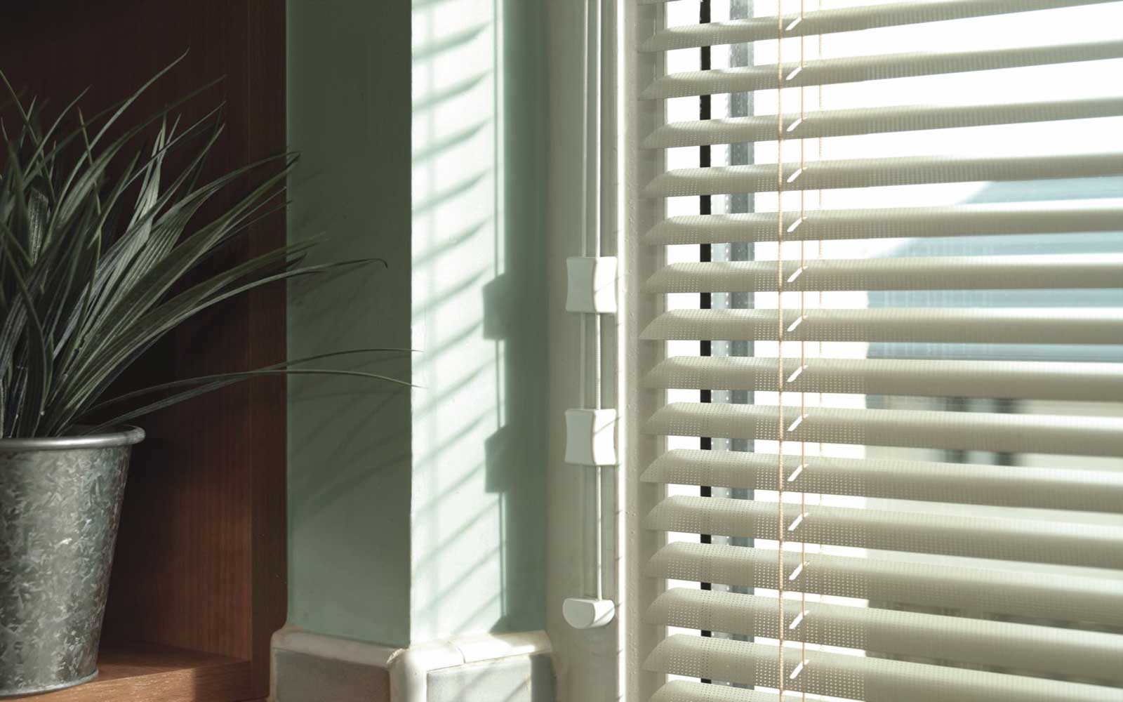 intu aluminium venetians in a window