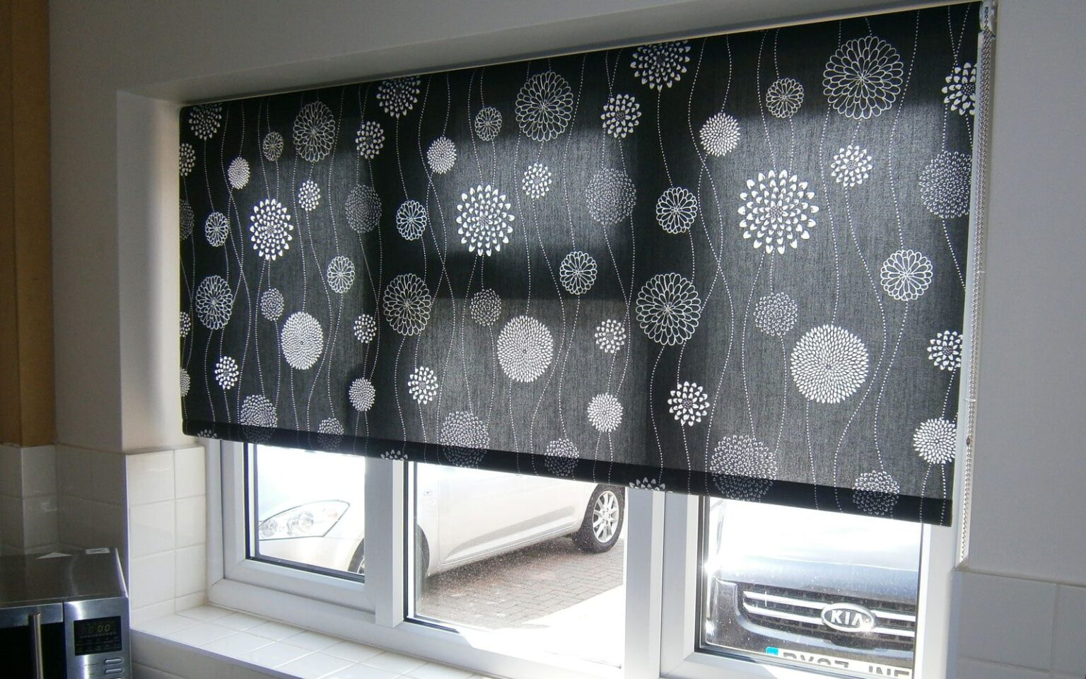 Roller Blinds For Kitchens Black Patterned Roller Blind Kitchen Surrey Blinds Shutters