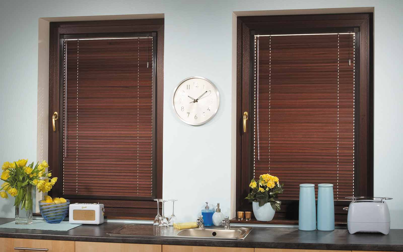 Aluminium venetians in a kitchen