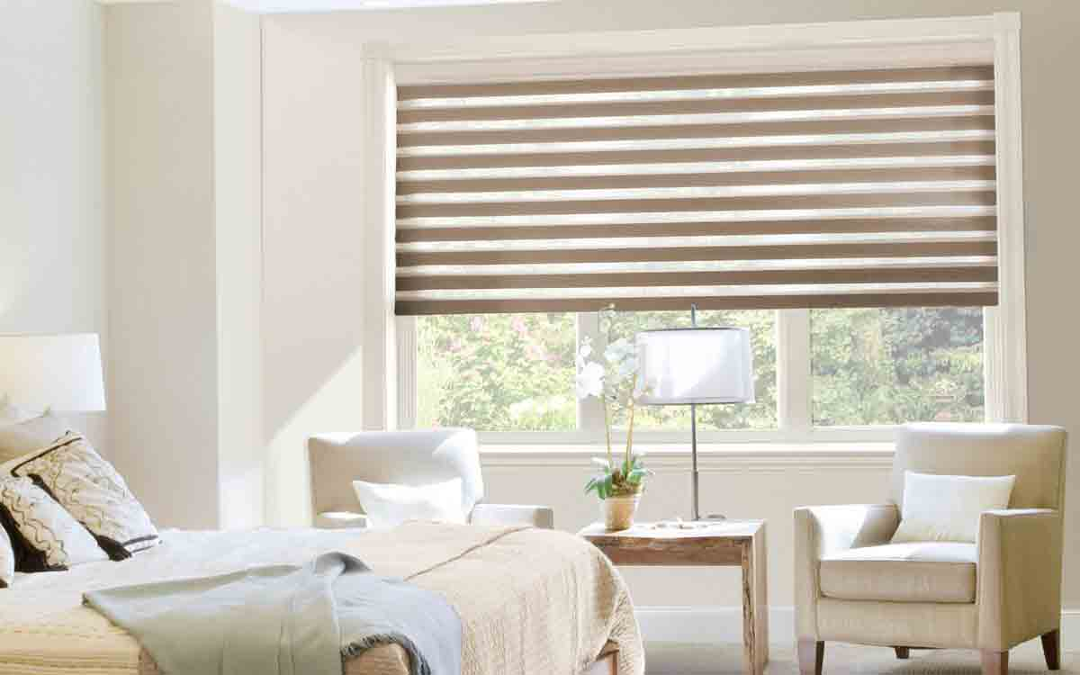 duo roller blinds in a living room