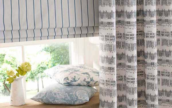 Patterned Romand and Curtains
