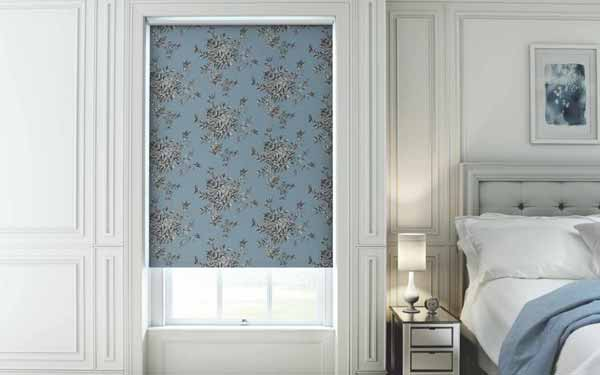 Patterned Roller Blinds In a Bedroom