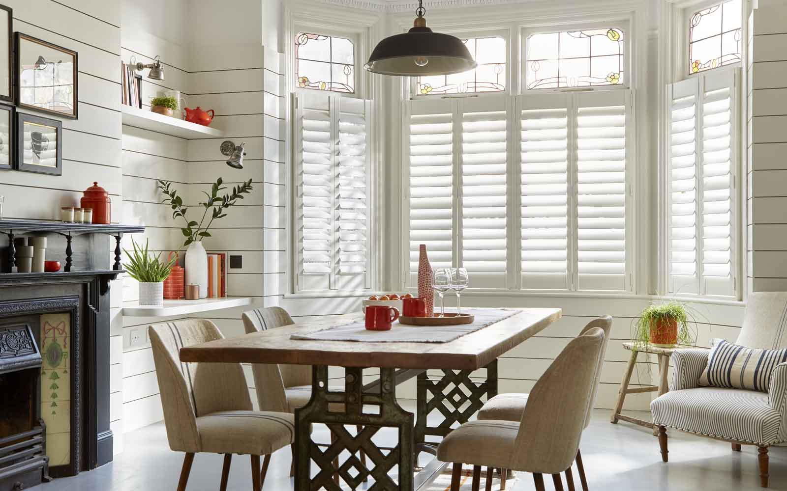 plantation shutters on a bay in a kitchen