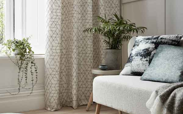 patterned curtains in a living room
