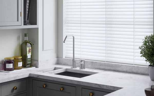 Faux Wood Venetian Blind In a Kitchen