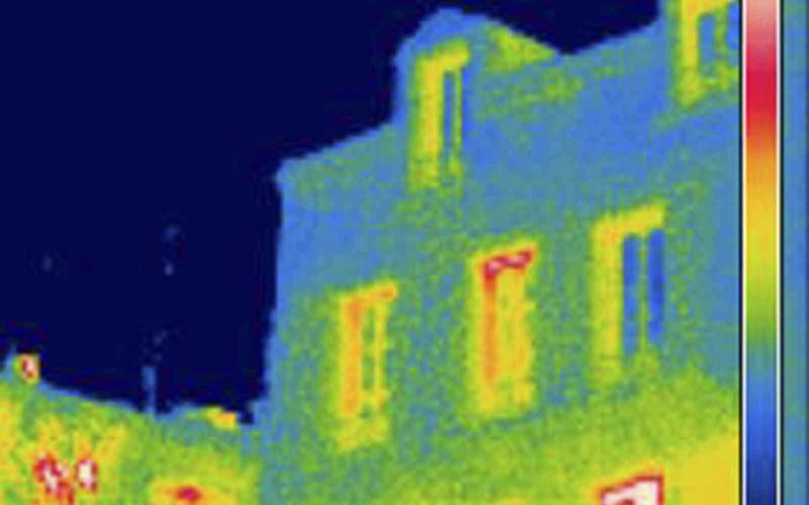 Heat sensor image of a house