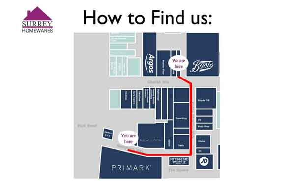 Map Of Directions to Surrey Home and Gifts Camberley