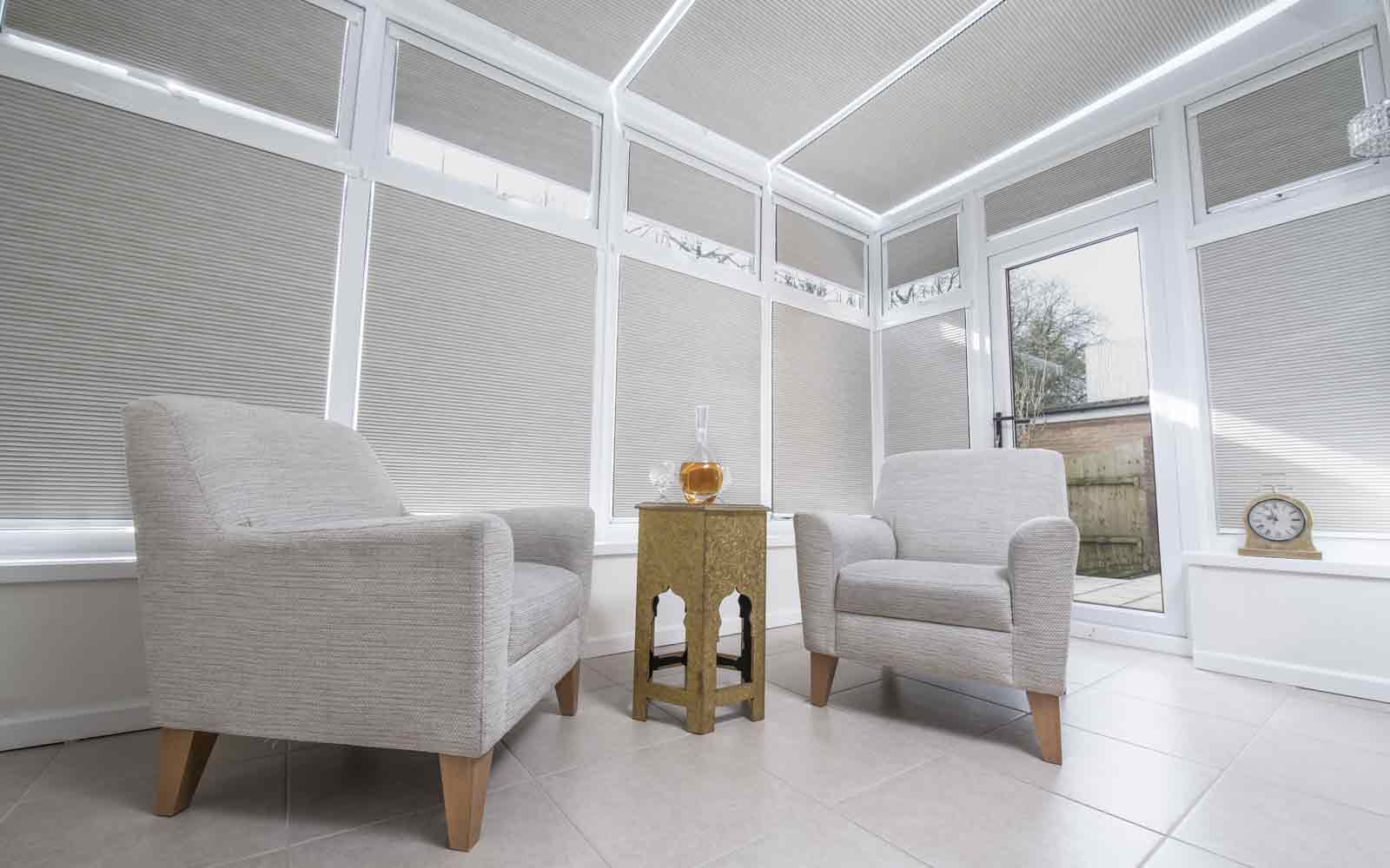 Intu Pleated Blinds in a conservatory