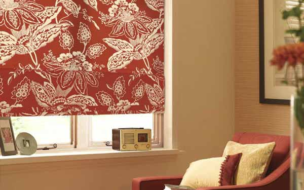 patterned roman blinds in a living room