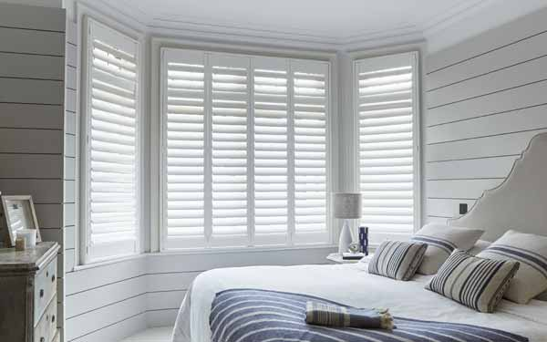 Bay Window Bedroom Plantation Shutters