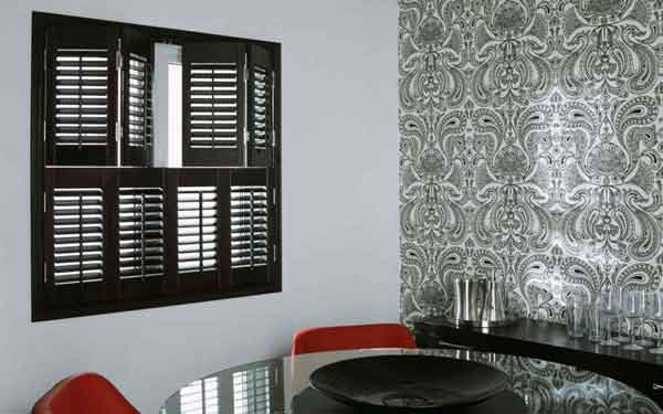 Tier on Tier Stained Plantation Shutter