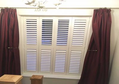 Track Door Plantation Shutters With Curtains