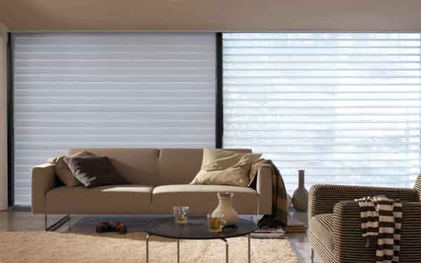 tri roller blinds in a living room