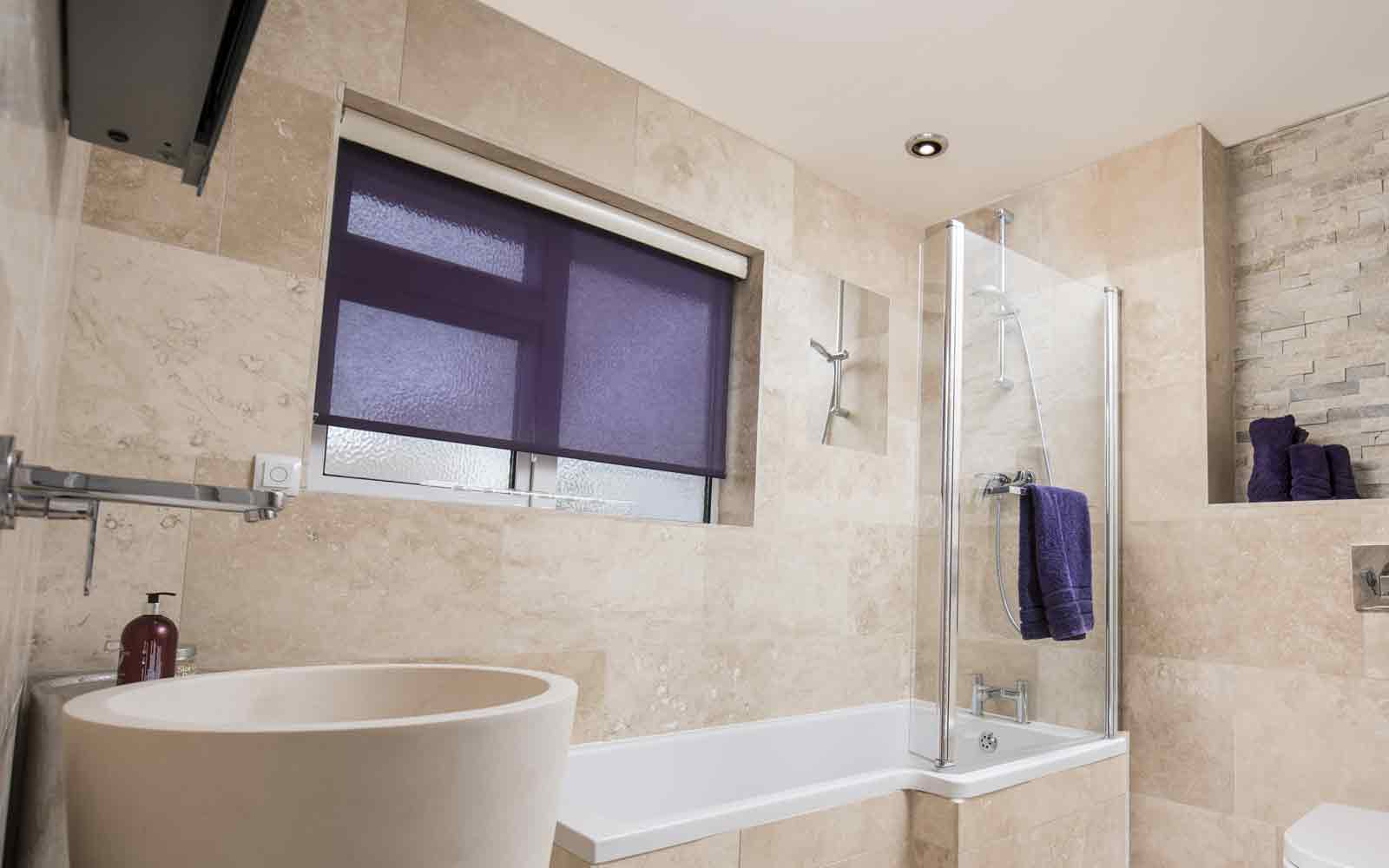 Voile Roller Blind in the bathroom