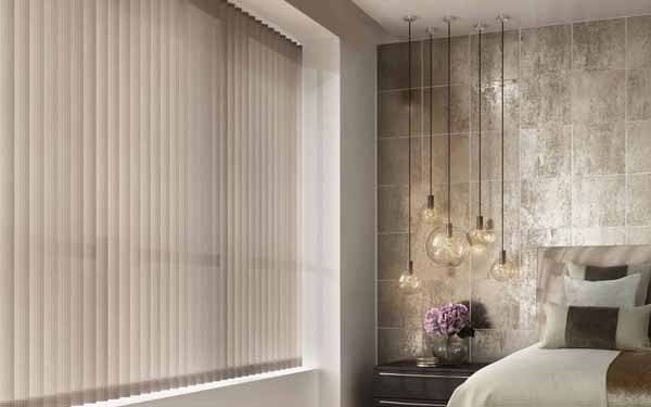 Vertical blinds in a bedroom