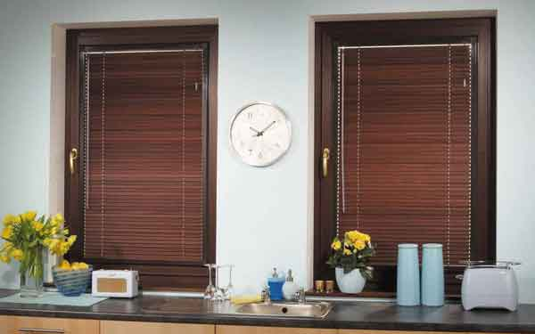 Kitchen Perfect Fit Wood Effect Aluminium Blinds