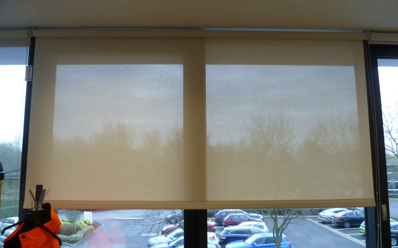 Screen Fabric Roller Blinds In An Office